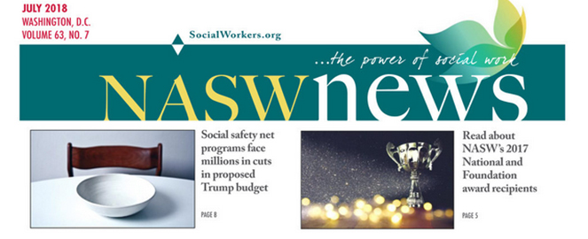 NASW News masthead from July 2018