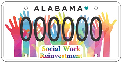 shape of license plate, colorful hands, Social Work Reinvestment, 000000
